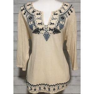 Lucky Brand 3/4 sleeve Aztec Style Shirt